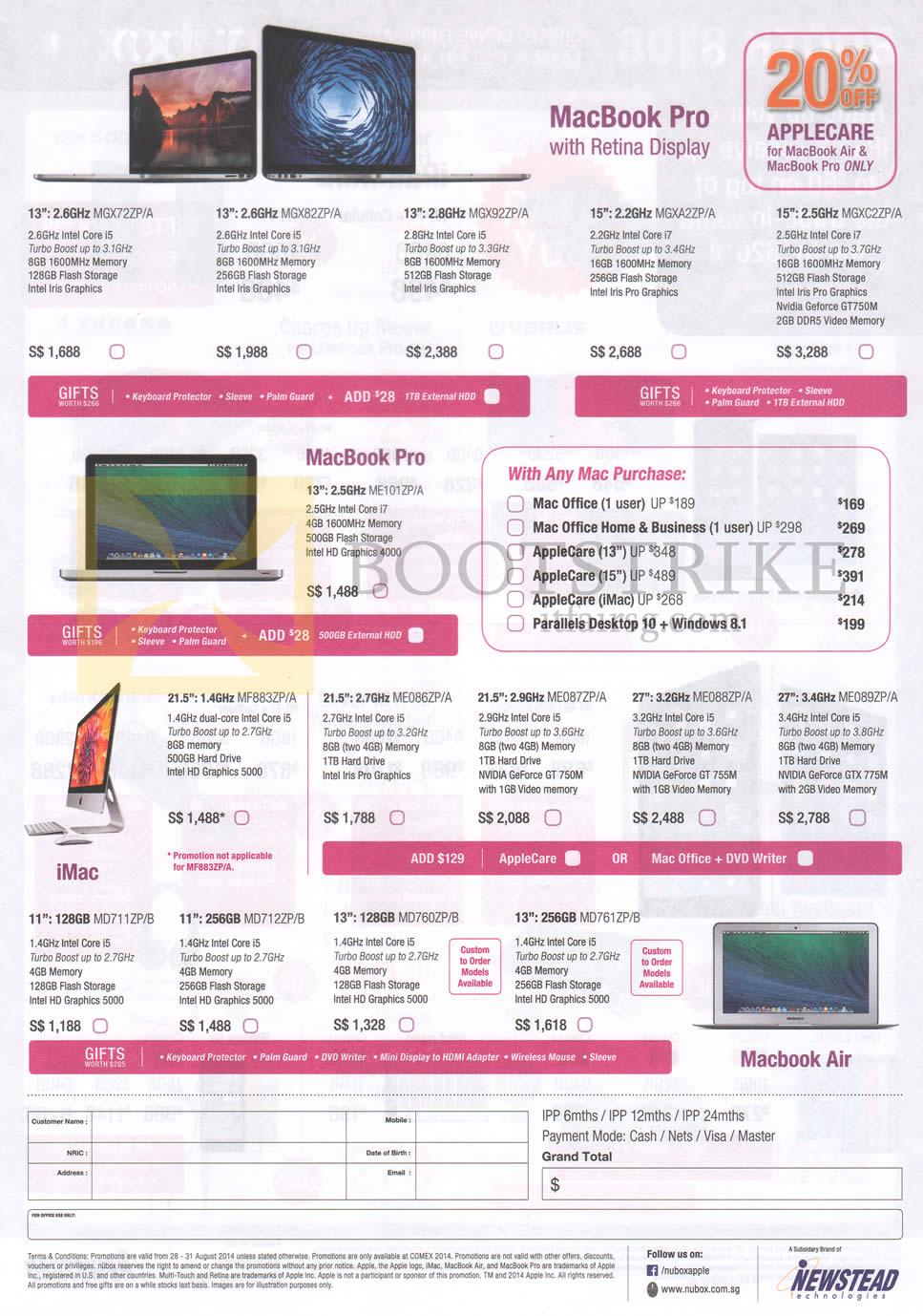 COMEX 2014 price list image brochure of Newstead Apple MacBook Pro Notebook, With Retina Display, IMac AIO Desktop PC, MacBook Air