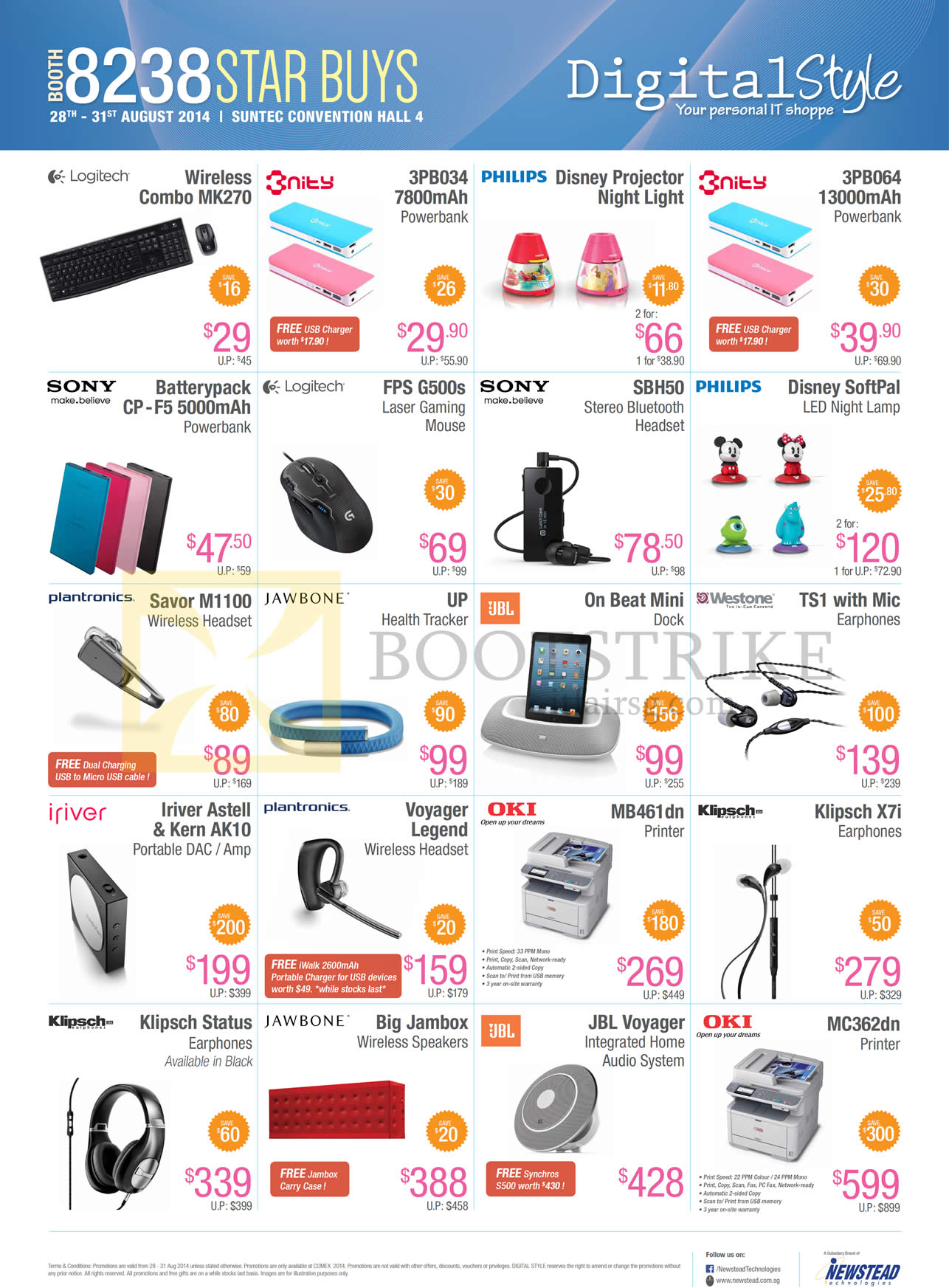 COMEX 2014 price list image brochure of Newstead Digital Style Accessories Power Banks, Wireless Headsets, Earphones, Mouse, Fitness Trackers, Speakers, Printer, LED Night Lamp