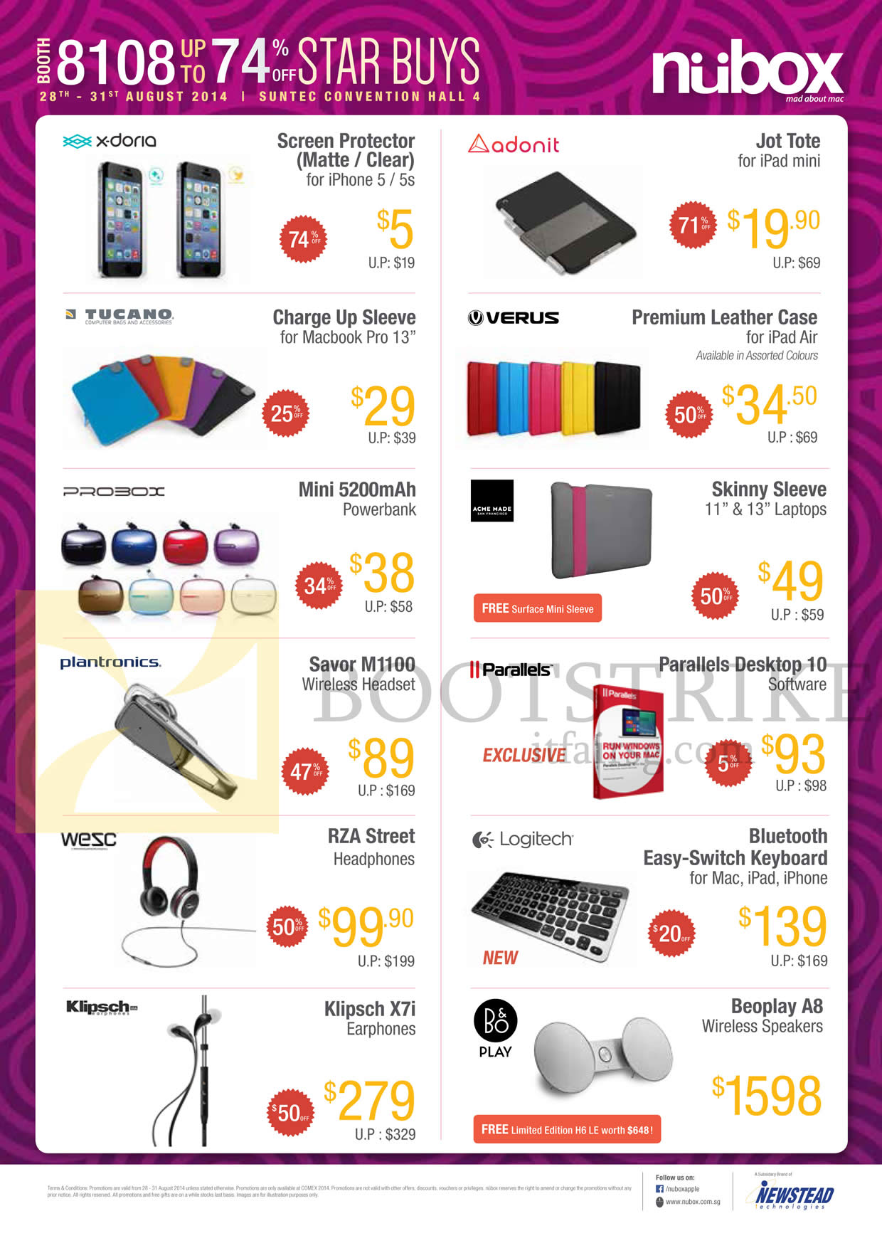 COMEX 2014 price list image brochure of Nubox Accessories Headphones, Powerbank, Earphones, Software, Wireless Speakers, Laptop Sleeves, Screen Protectors, Macbook Sleeves
