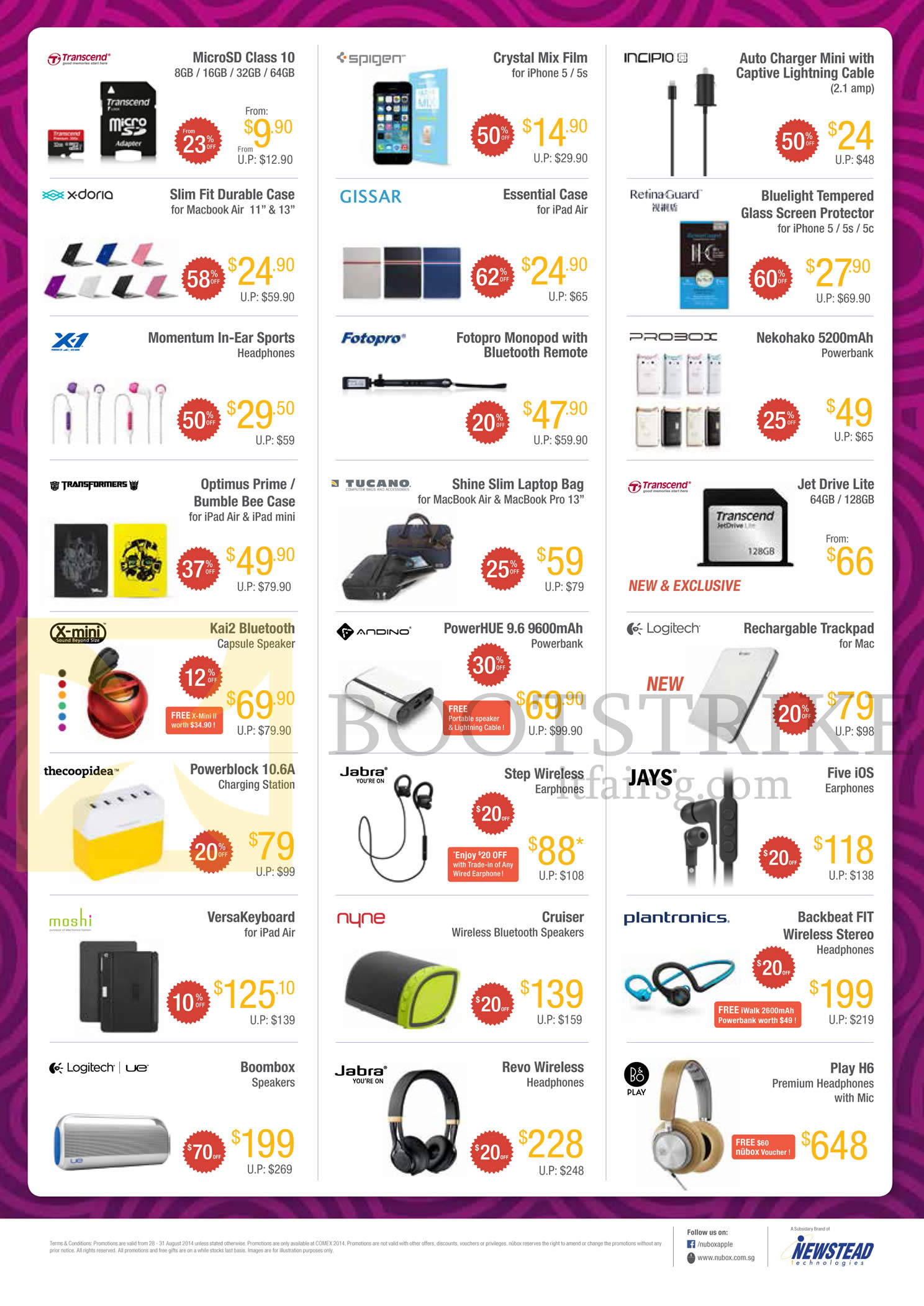 COMEX 2014 price list image brochure of Nubox Accessories SD Cards, Cases, Headphones, Speakers, Keyboard, Earphones, Powerbanks, Screen Protectors, Lightning Cables