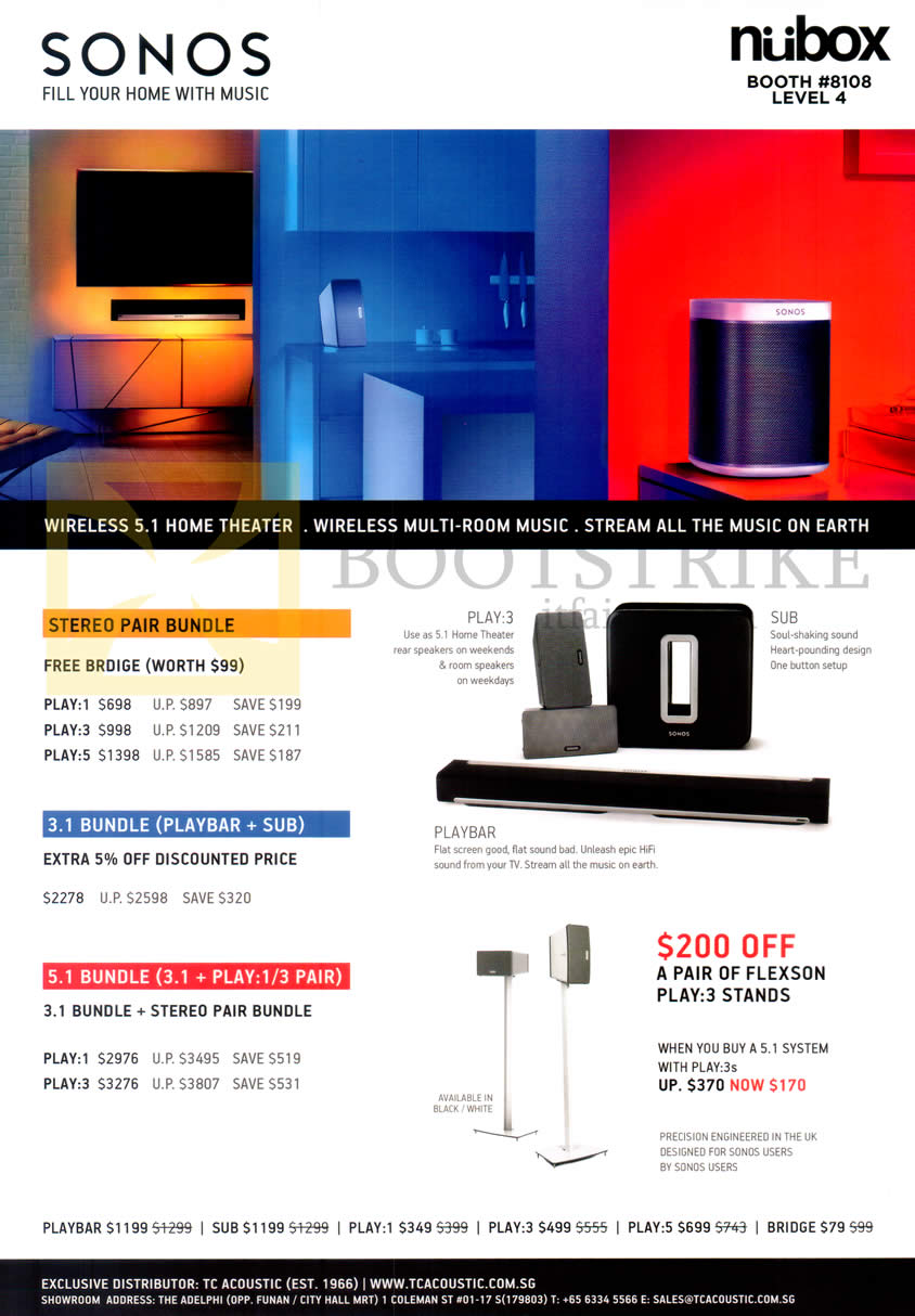 COMEX 2014 price list image brochure of Nubox Sonos Wireless Home Theatre, Play-3, Sub, Playbar, Stereo Pair Bundle, 3.1 Bundle, 5.1 Bundle, Flexon