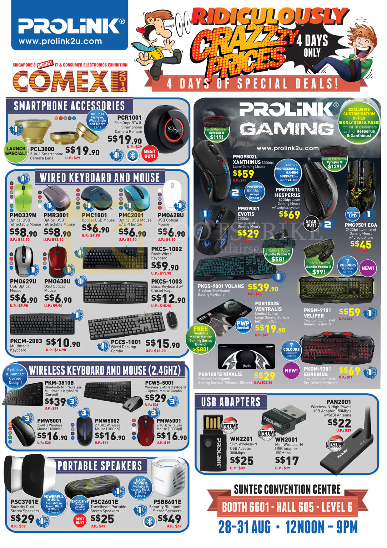 COMEX 2014 price list image brochure of Prolink Smartphone Accessories, Keyboard, Wired Gaming Mouse, Speakers, Wireless USB Adapters