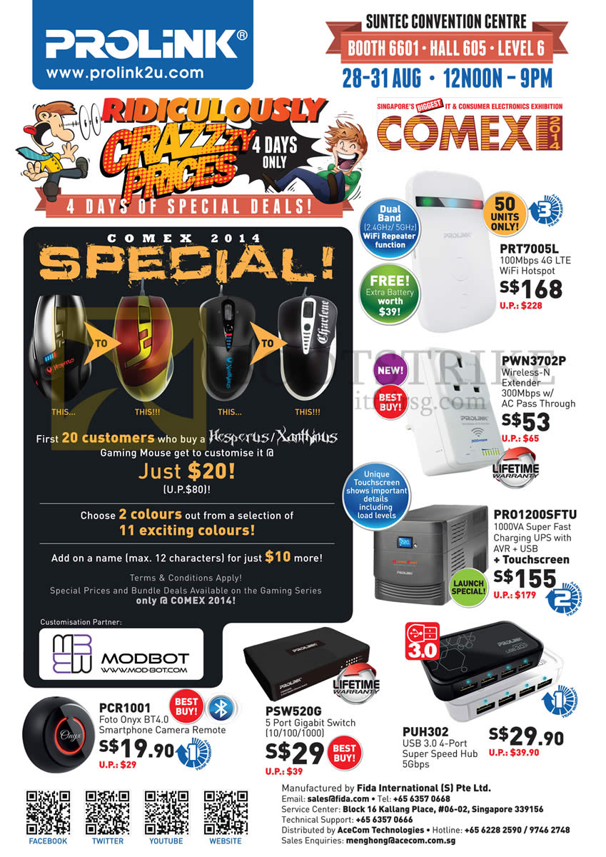 COMEX 2014 price list image brochure of Prolink Wireless Hotspot, Range Extender, UPS, Hub, Switch, Foto Onyx Smartphone Camera Remote