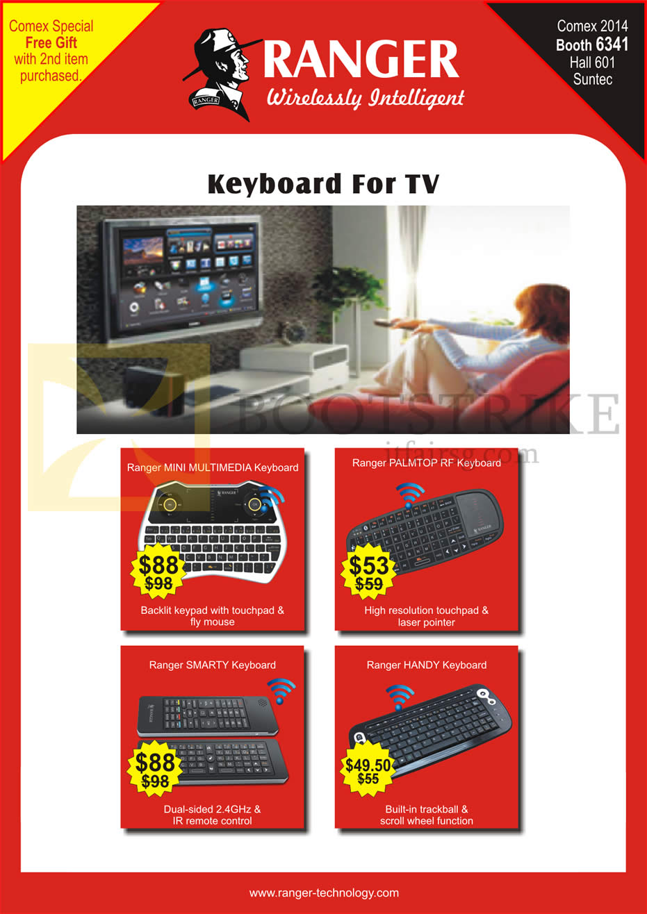 COMEX 2014 price list image brochure of Ranger Keyboards Mini, Palmtop RF, Smarty, Handy