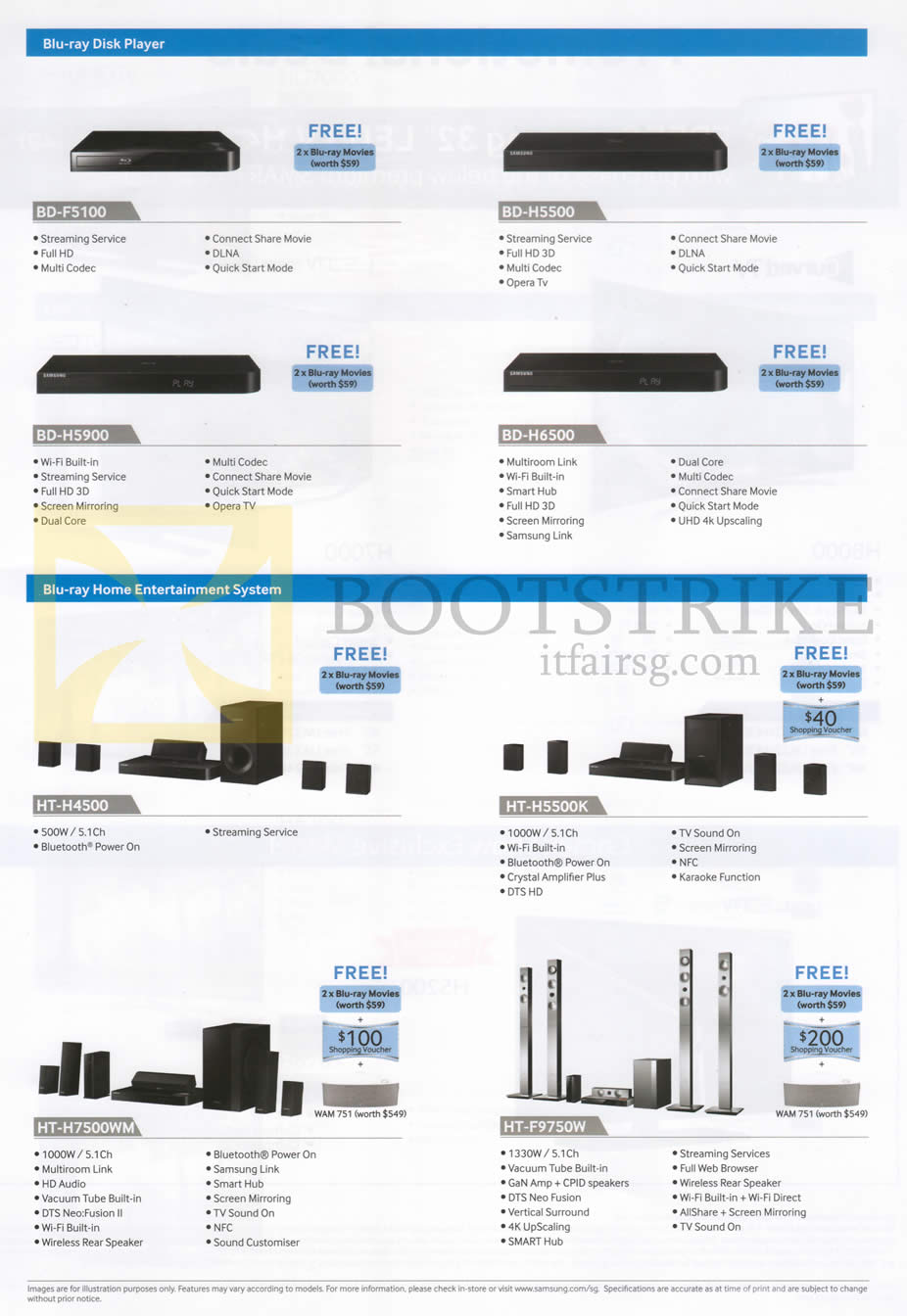 COMEX 2014 price list image brochure of Samsung (No Prices) Blu-Ray Players, Blu-Ray Home Theatre System BD-F5100, BD-H5500, BD-H5900, BD-H6500, HT-H4500, HT-H5500K, HT-H7500WM, HT-F9750W