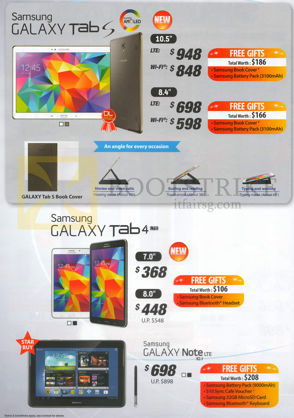 COMEX 2014 price list image brochure of Samsung Galaxy Tab S 10.5, Galaxy Tab S 8.4, Galaxy Tab 4 7.0, Galaxy Tab 4 8.0, Galaxy Note 10