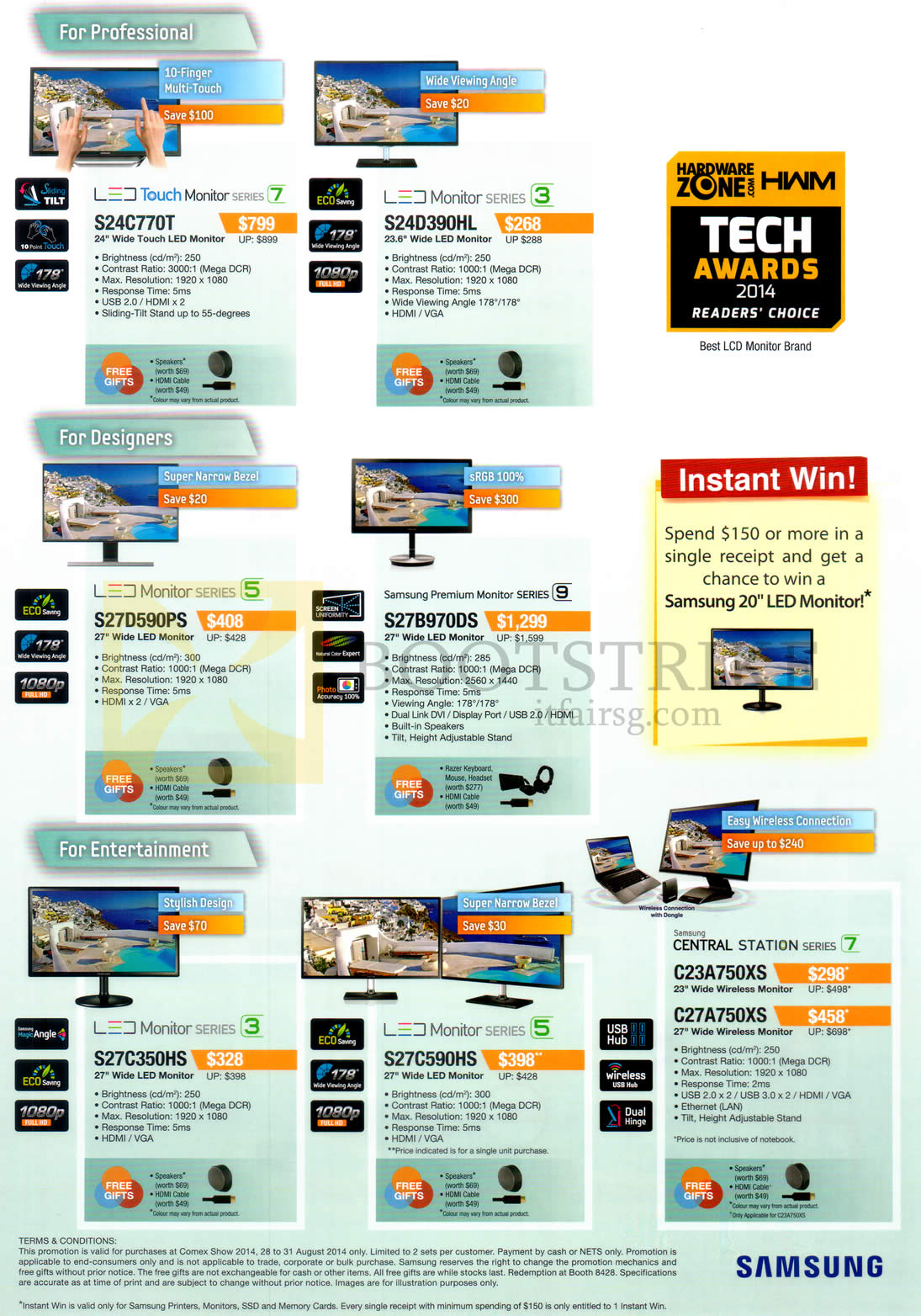 COMEX 2014 price list image brochure of Samsung Monitors S24C770T, S24D390HL, S27D590Ps, S27B970DS, S27C350HS, S27C590HS, C23A750XS, C27A750XS