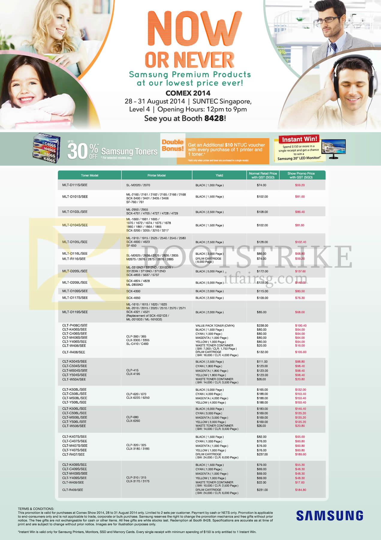 COMEX 2014 price list image brochure of Samsung Printers Toners