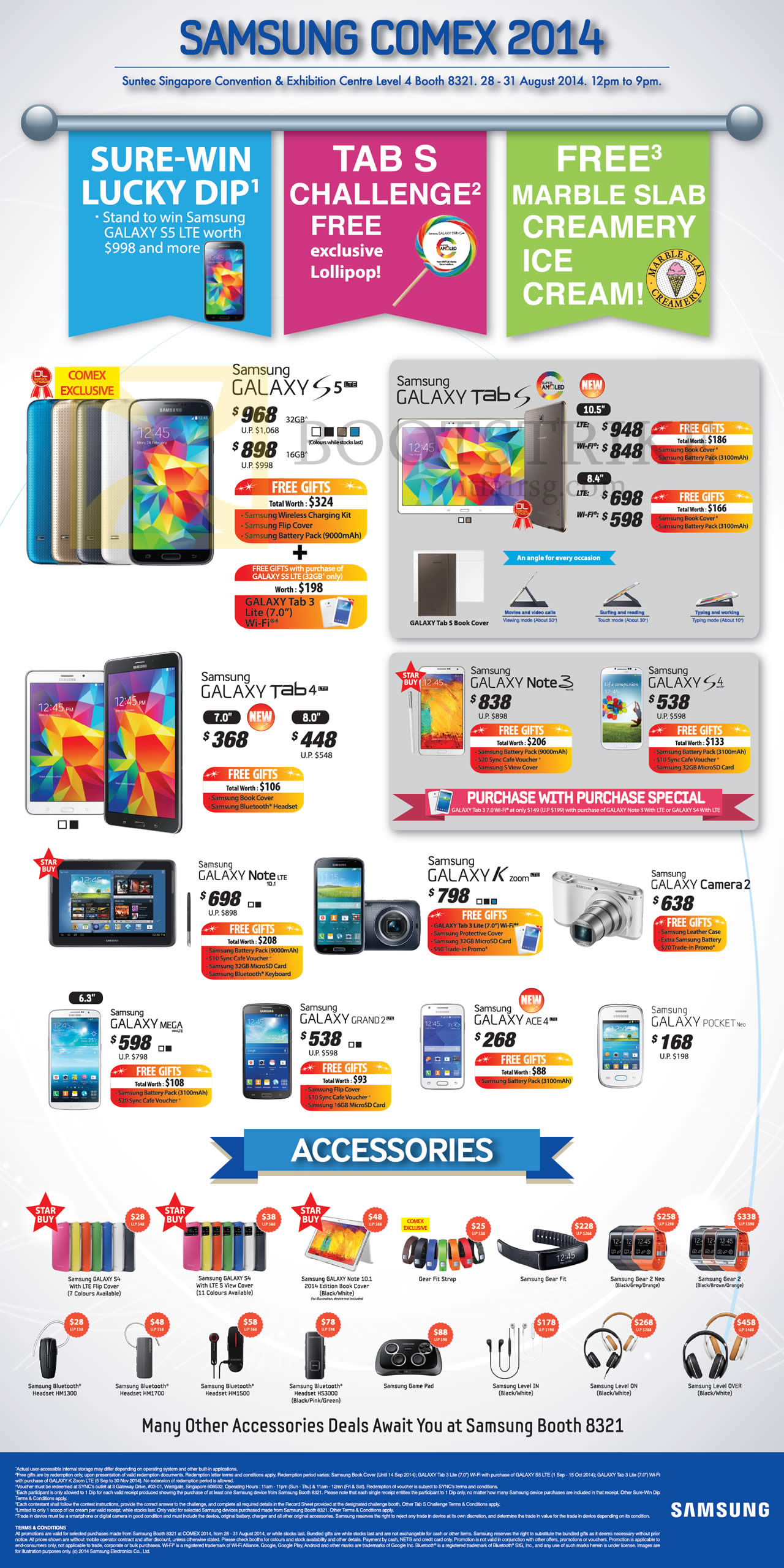 COMEX 2014 price list image brochure of Samsung Smartphones, Tablets, Accessories Galaxy S5, Tab S 10.5 8.4, Tab 4 7.0 8.0, Note 3, S4, Note 10.1 LTE, K Zoom, Camera 2, Mega, Grand 2, Ace 4, Pocket Neo