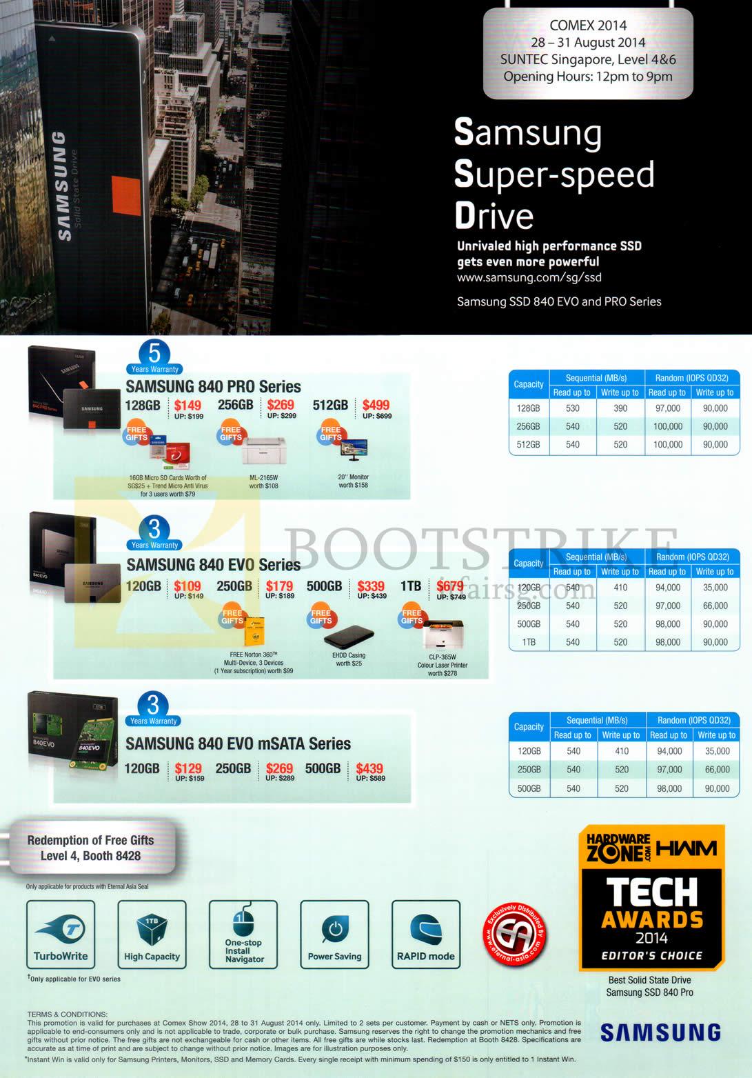 COMEX 2014 price list image brochure of Samsung Storage 840 Pro Series, Evo Series, 840 Evo MSata Series 128GB 256GB 512GB 120GB 250GB 500GB 1TB