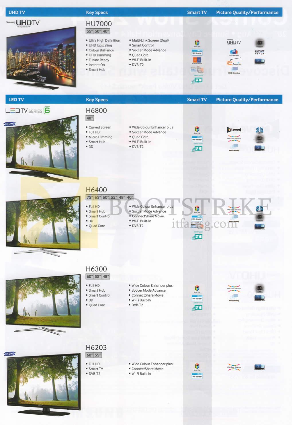 COMEX 2014 price list image brochure of Samsung TVs (No Prices) HU7000, H6800, H6400, H6300, H6203