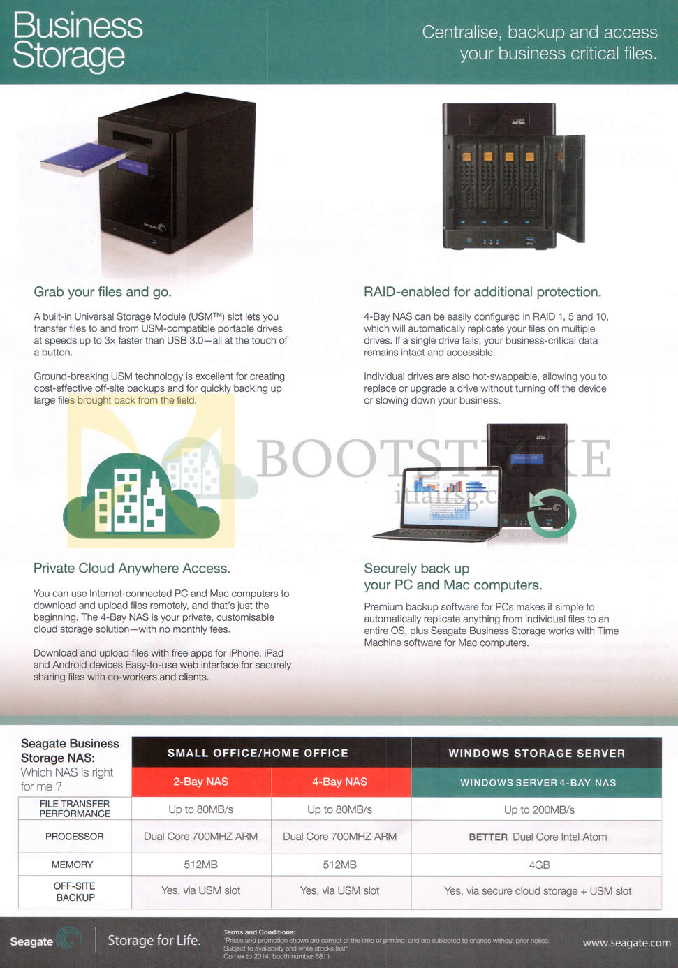 COMEX 2014 price list image brochure of Seagate Business Storage Features 2 Bay NAS, 4 Bay NAS, Windows Server 4 Bay NAS