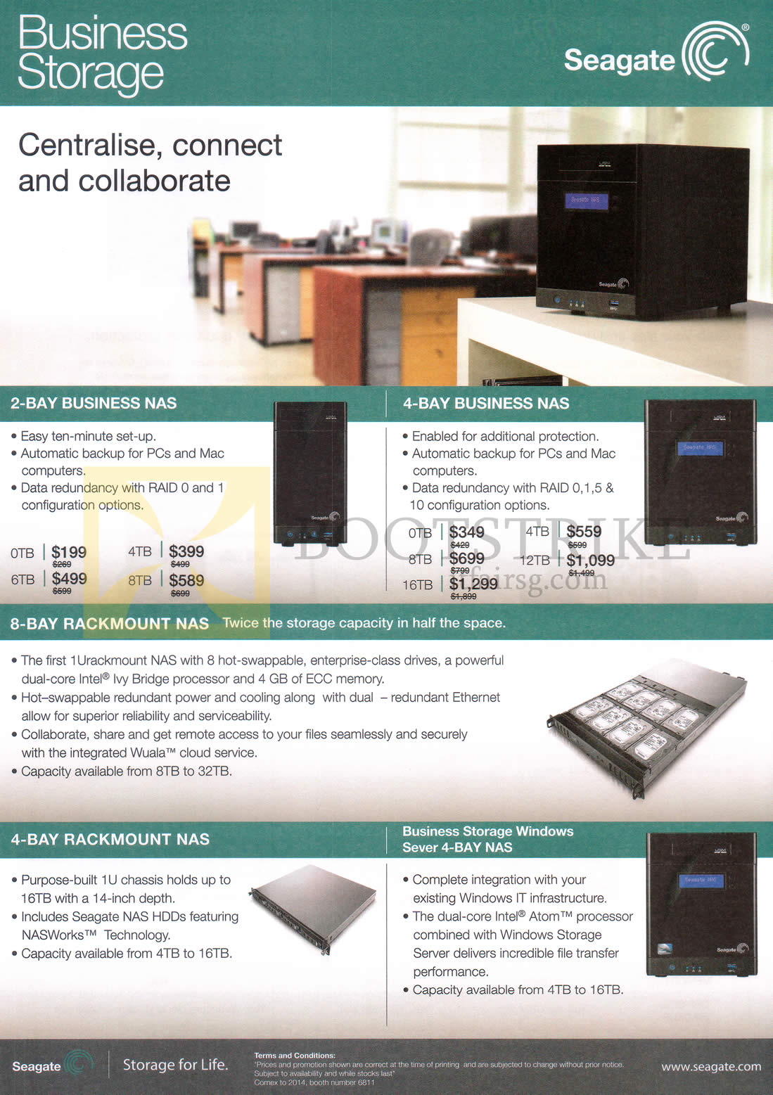COMEX 2014 price list image brochure of Seagate Business Storage NAS 2 Bay, 4 Bay, 8 Bay Rockmount