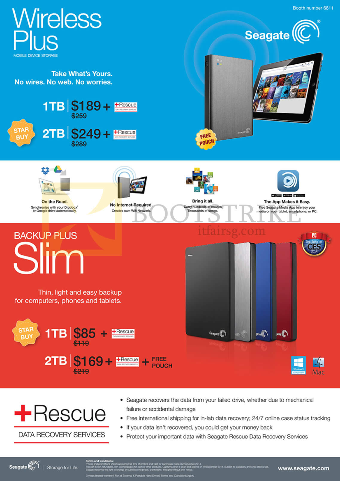 COMEX 2014 price list image brochure of Seagate External Storage Wireless Plus Mobile Device Storage, Backup Plus Slim 1TB, 2TB