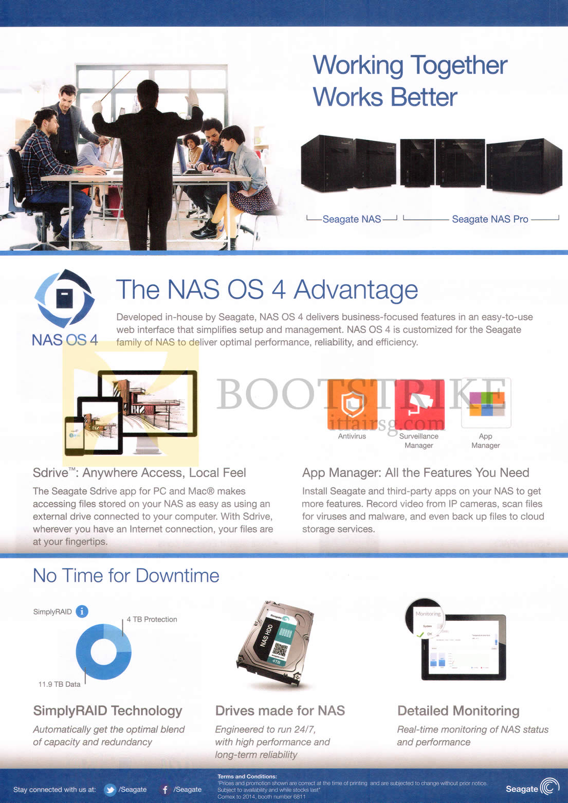 COMEX 2014 price list image brochure of Seagate NAS Pro Features OS 4 Advantage, SimplyRaid