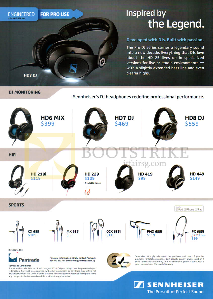 COMEX 2014 price list image brochure of Sennheiser Headphones, Earphones, HD6 Mix, HD7 Mix, HD8 DJ, HD218i, HD228, HD419, HD449, CX685, MX685, OCX685i, PMX685i, PX685i