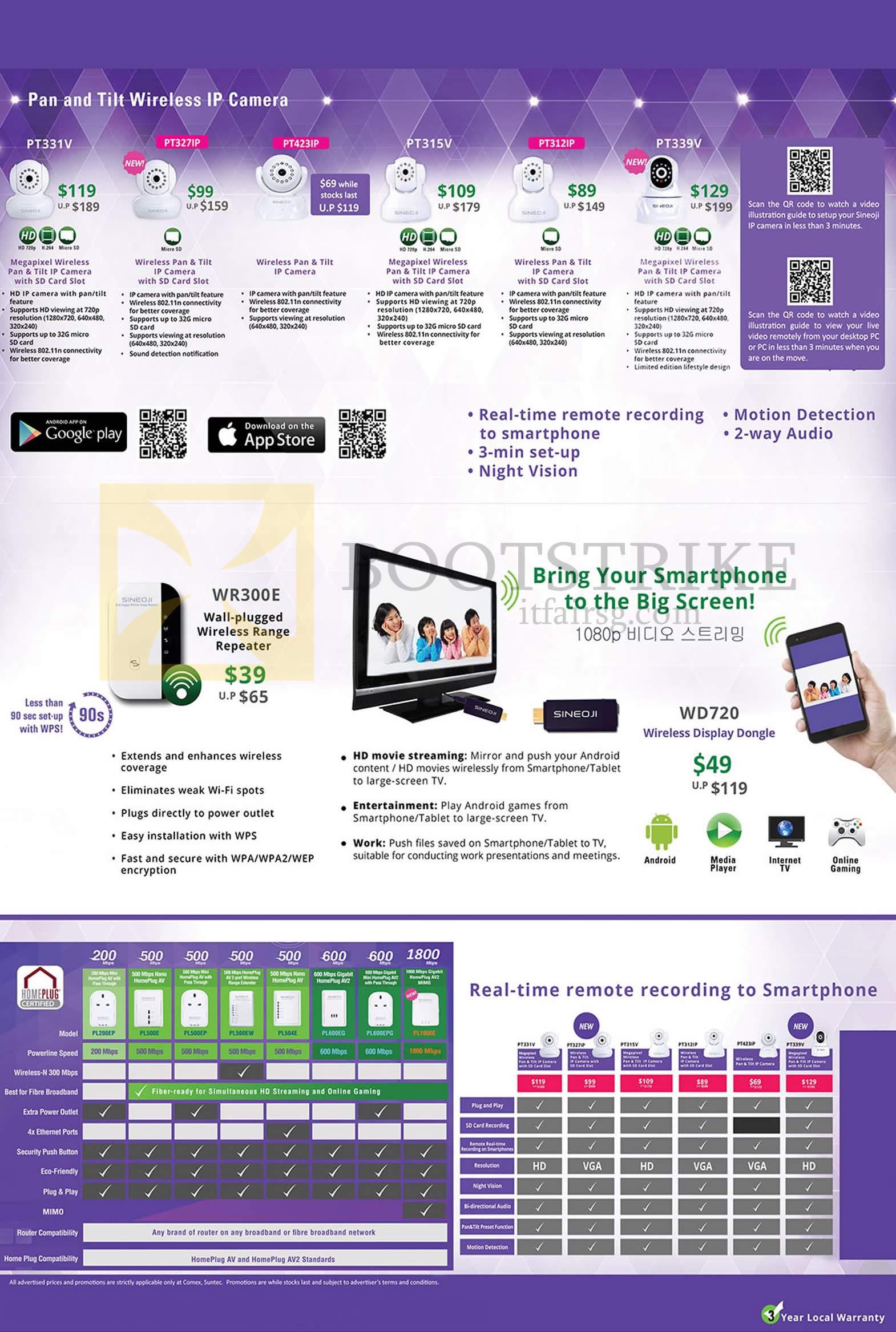 COMEX 2014 price list image brochure of Sineoji IPCams, Homeplugs, WR300E Range Extender, PT331V PT327IP PT423IP PT315V PT312IP PT339V
