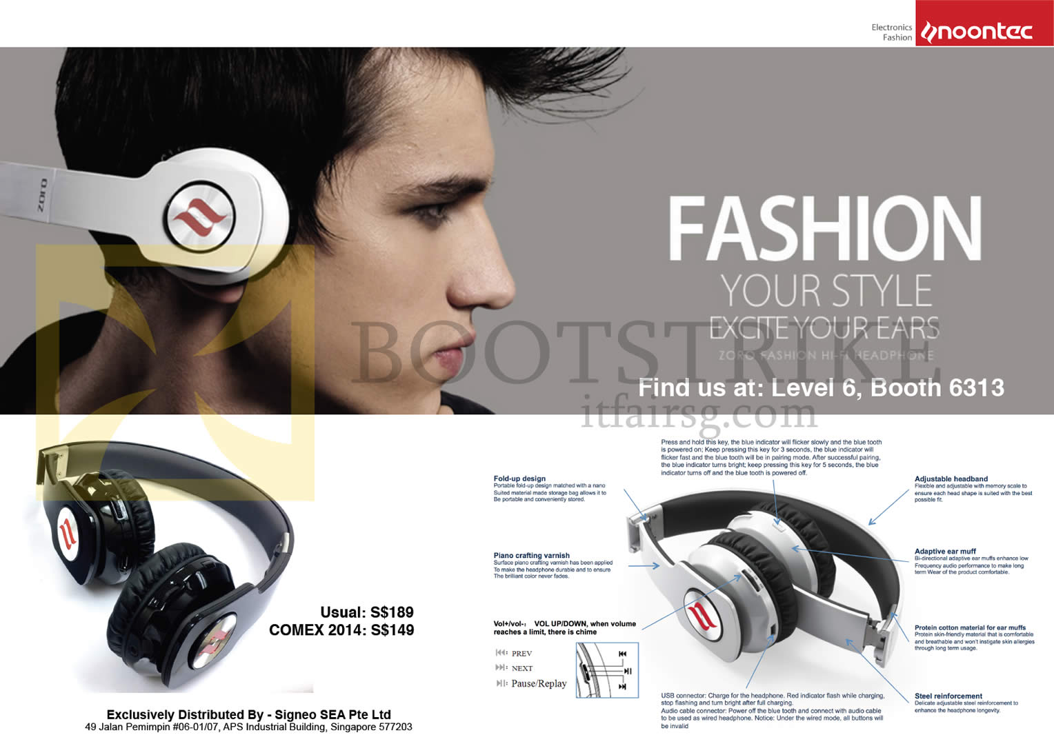 COMEX 2014 price list image brochure of Sprint-Cass Noontec Zoro Fashion Hi-Fi Headphone