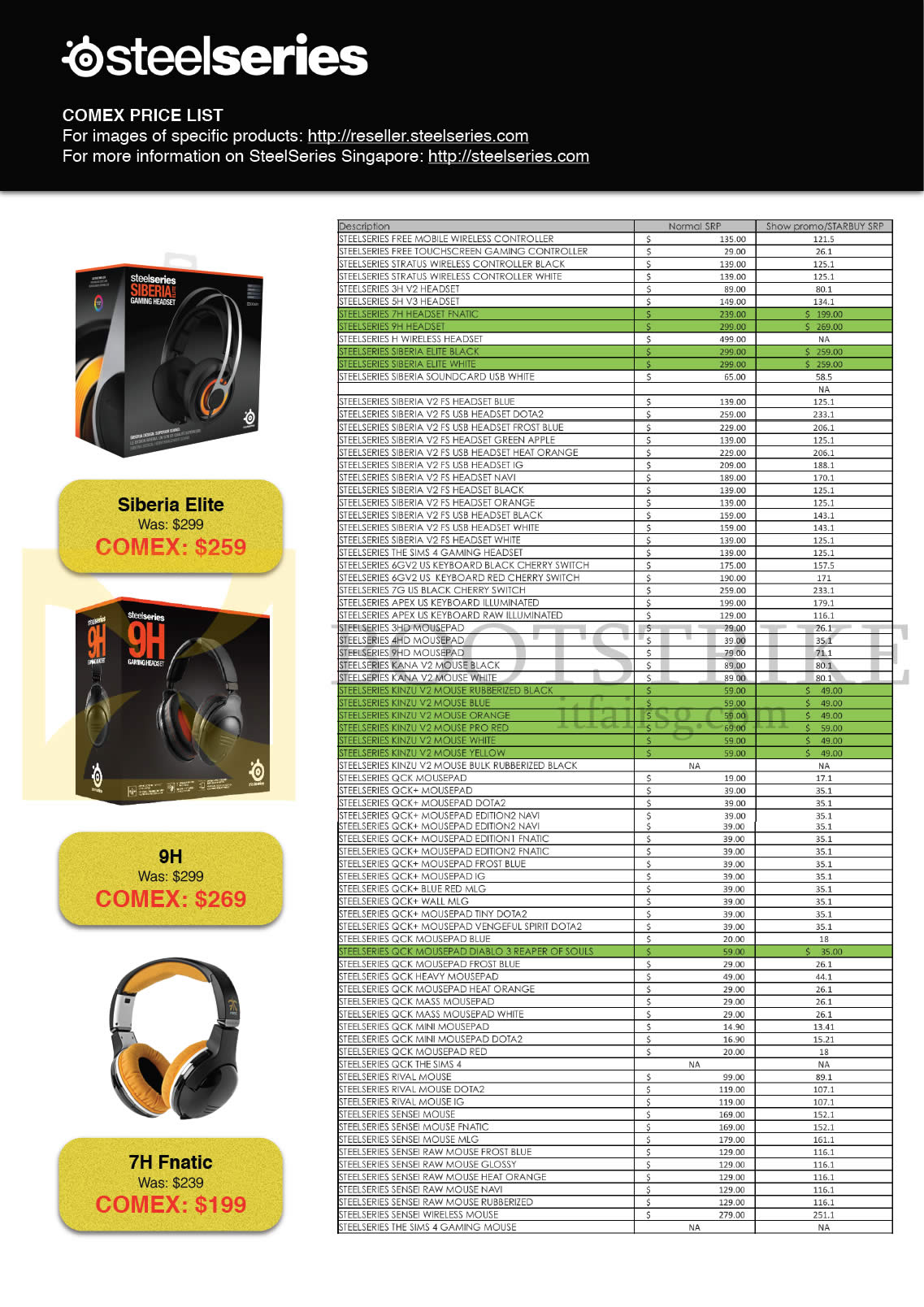 COMEX 2014 price list image brochure of Steelseries Headphones, Headset, Keyboard, Mousepad, Mouse, Controller, Siberia Elite, 9H, 7H Fnatic (Cybermind, GamePro, Newstead)
