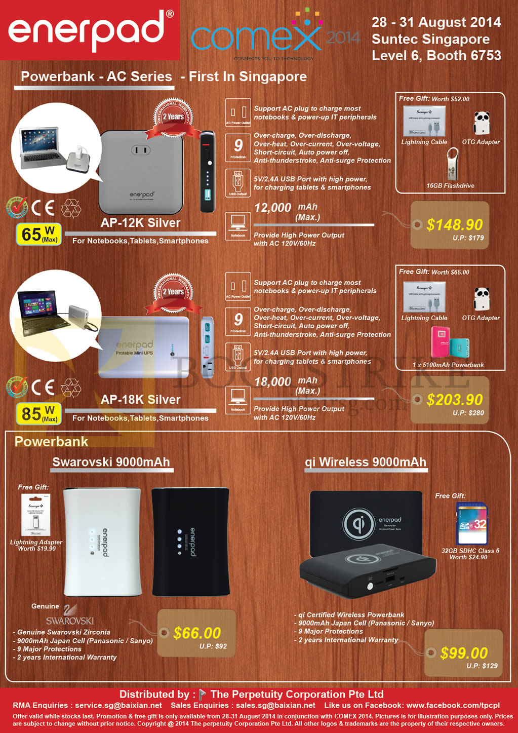 COMEX 2014 price list image brochure of The Perpetuity Enerpad Power Banks AC AP-12K Silver, 18K Silver, Swarovski 9000mAh, Qi Wireless 9000mAh