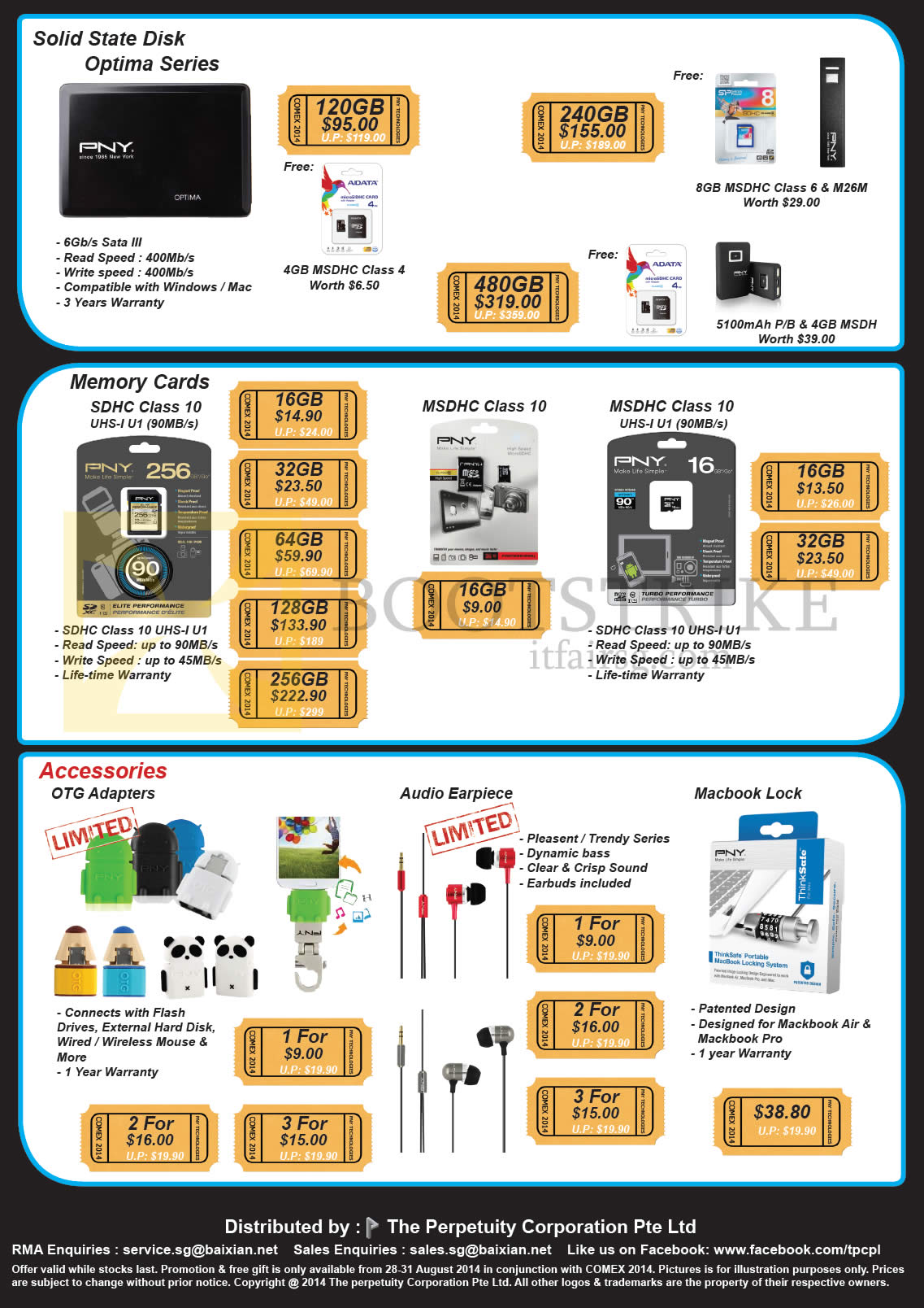 COMEX 2014 price list image brochure of The Perpetuity PNY Memory Cards SDHC, Solid State Disks SSD, OTG Adapters, Earpiece