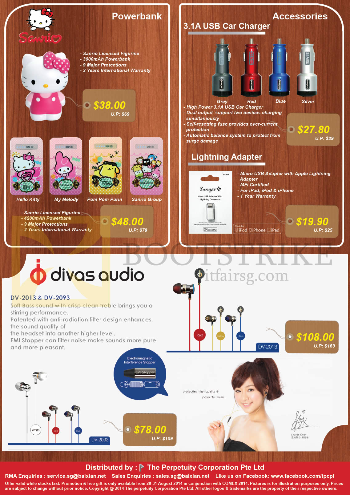 COMEX 2014 price list image brochure of The Perpetuity Sanrio Power Banks, USB Car Charger, Lightning Adapter, Divas Audio Earphone DV-2013 2093