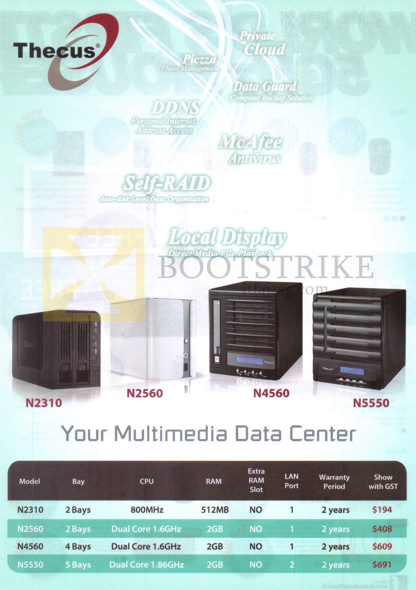 COMEX 2014 price list image brochure of Thecus NAS Multimedia Data Centre N2310, N2560, N4560, N5550