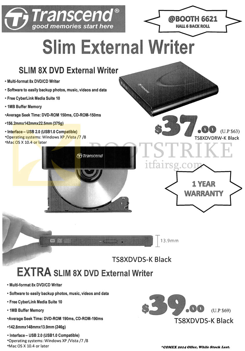COMEX 2014 price list image brochure of Unknown Transcend Slim External Writer, Extra Slim 8x DVD External Writer TS8XDVDS-K, TS8XDVDRW-K