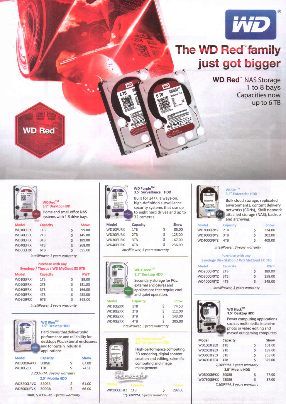 COMEX 2014 price list image brochure of Western Digital Internal Hard Disk Drives Red Desktop, Purple Surveillance, Se Enterprise, Blue Desktop, Green Desktop, Black Desktop, VelociRaptor Workstation