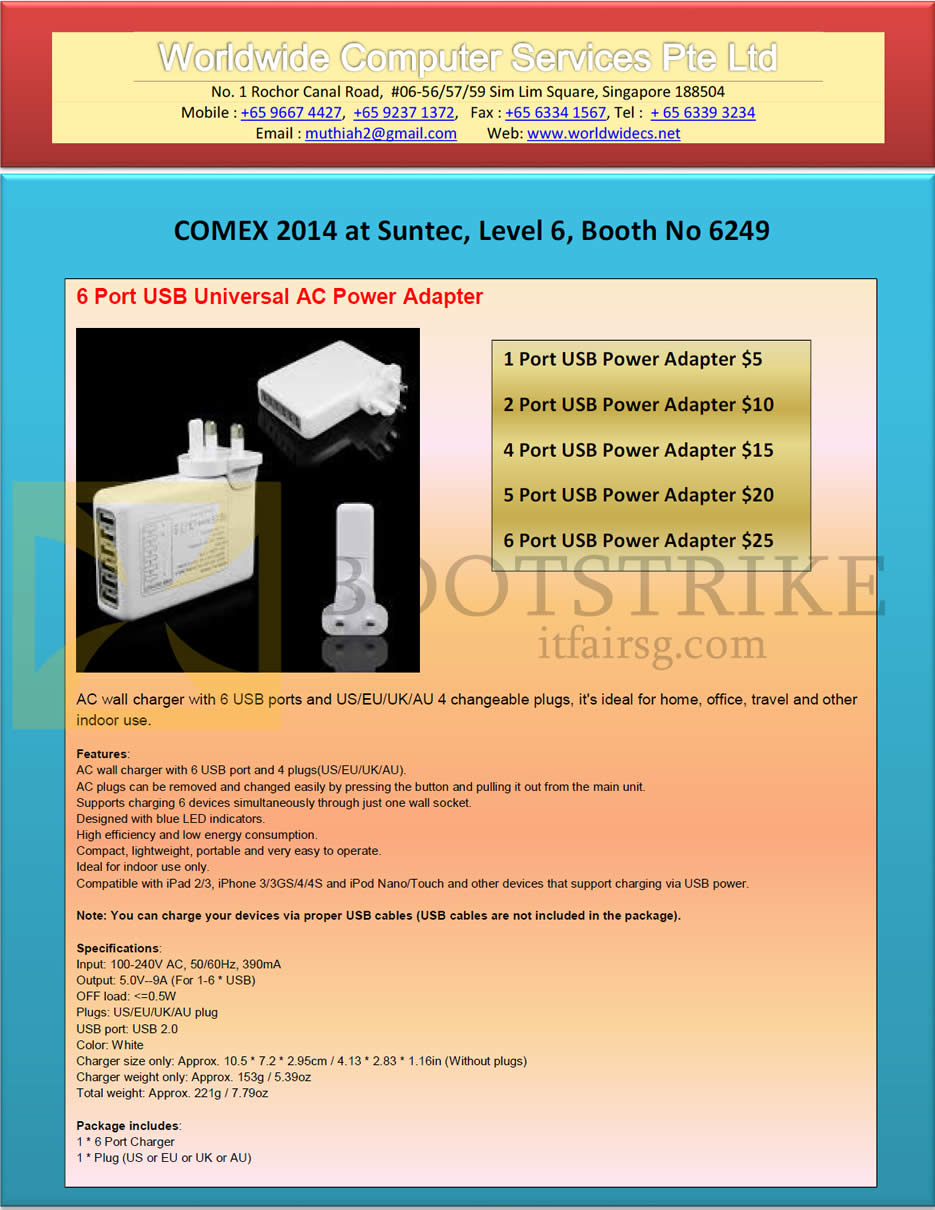 COMEX 2014 price list image brochure of Worldwide Computer Services 6 Port USB Universal AC Power Adapter