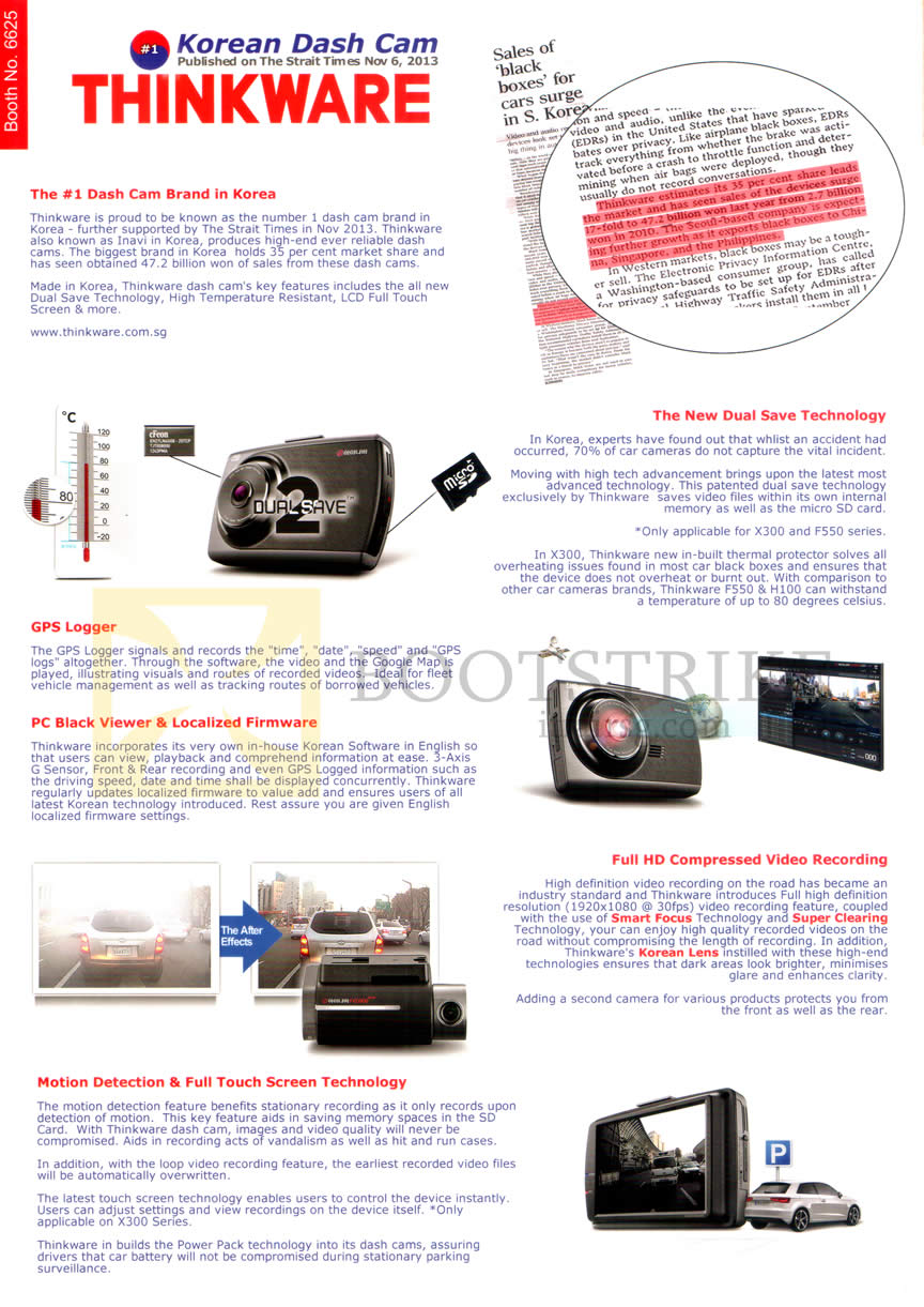 COMEX 2014 price list image brochure of ZMC Automotive Korean Dash Cam Car Driving Recorder Camera Thinkware Features