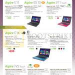 Notebooks Aspire E3-111, ES1-311, V3-111P, E5-471, E5-571, E5-471G, V5-473PG-54218G50a, V5-473PG-74518G1Ta, V5-573PG-54218G50a