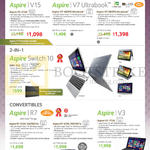 Notebooks, Tablet Aspire V3-572G, V7-482PG, V7-582PG, Switch 10 SW5-012, R7-572G-54218G1Ta, R7-572G-7451161Ta, V3-772G