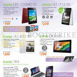 Tablets Iconia B1-730HD, A1-713, A1-830, A3, W4