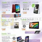 Tablets Iconia B1-730HD, A1-713, A1-830, A3, W4