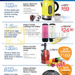 Electric Kettle AEK1700, EG008 LollieEgg Roll Maker, SJ1000 JuiceMax Slow Juicer, VC2000 Robot Vacuum Cleaner