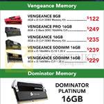 Corsair Vengeance RAM Memory, Pro, Sodimm, Dominator Memory Platinum