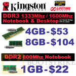Kingston Memory RAM DDR3, DDR2