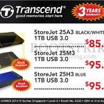 Transcend External Storage Drive StoreJet 25A3, 25M3, 25H3 1TB USB
