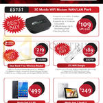 3G Mobile Wifi Modem E5151, Wireless Router WS880, LTE Wifi Dongle E8278, Media Pad X1-3G, 7 Youth 2