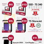 Transcend SSD TS 340, External Storage TS StoreJet 1TB 2TB, 25D3, Card Reader