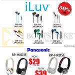 ILuv Earphones, Panasonic Headphones, IEP 335 336 415, RP-HXD3E HXD5E