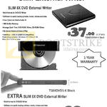 Transcend Slim External Writer, Extra Slim 8x DVD External Writer TS8XDVDS-K, TS8XDVDRW-K