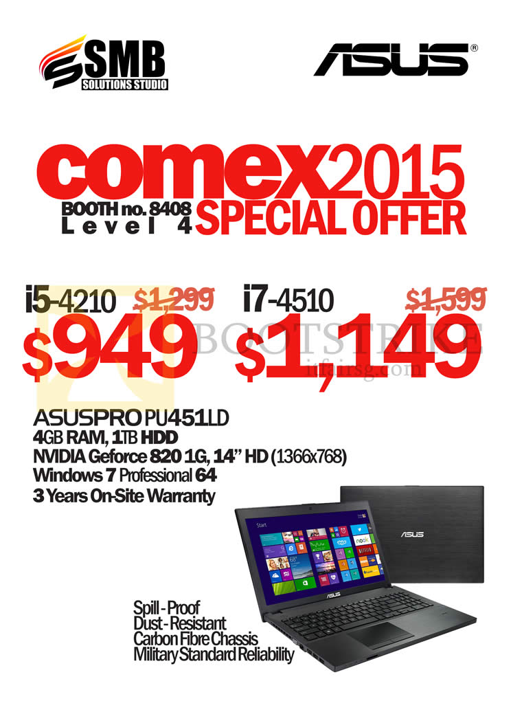 COMEX 2015 price list image brochure of ASUS (SMB Solutions) Notebook AsusPro PU451LD