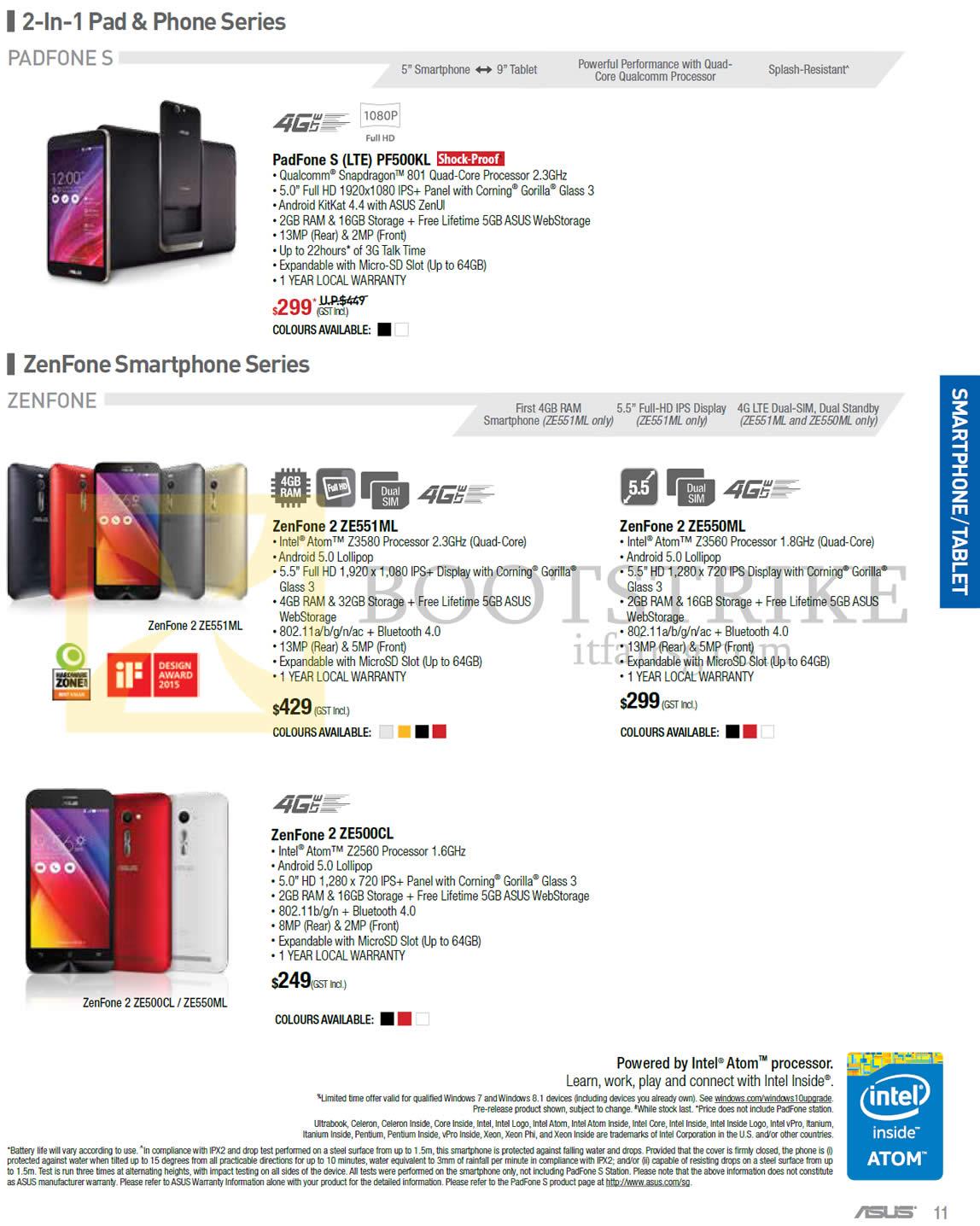 COMEX 2015 price list image brochure of ASUS Mobile Phones Padfone S PF500KL, ZE551ML, ZE550ML, ZE500CL