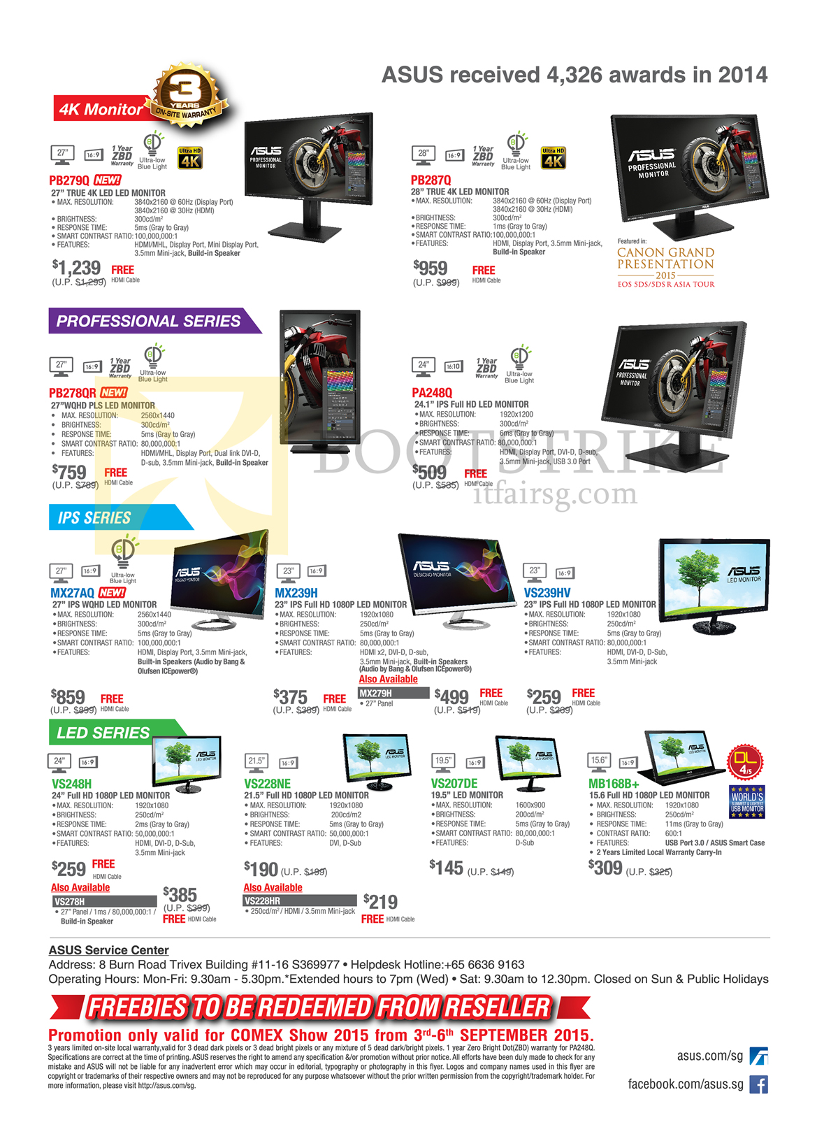 COMEX 2015 price list image brochure of ASUS Monitors LED IPS 4K, PB279Q, PB287Q, PB278QR, PA248Q, MX27AQ, MX239H, MX279H, VS239HV, VS248H, VS278H, VS228HR, VS228NE, VS207DE, MB168B