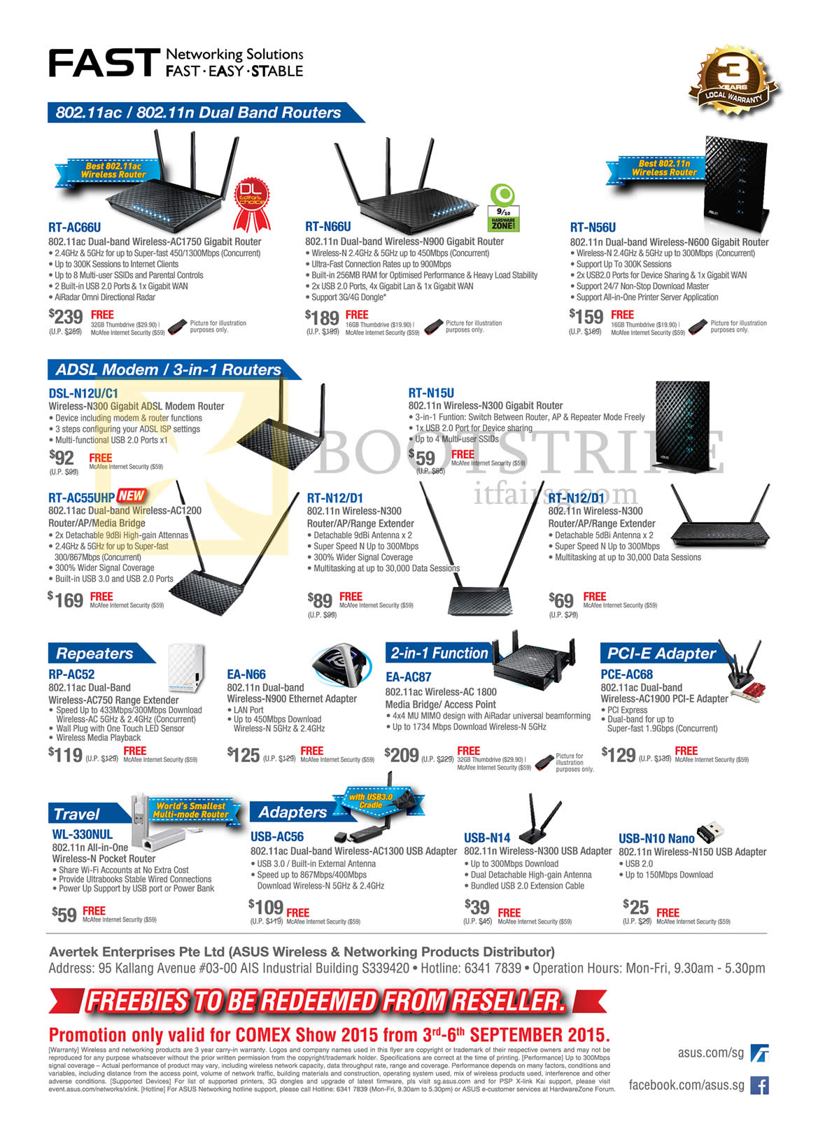 COMEX 2015 price list image brochure of ASUS Networking Wireless Routers, Repeaters, USB Adapters, ADSL Modem, Pocket, RT-AC66U, RT-N66U, RT-N56U, DSL-N12U C1, RT-N15U, RT-AC55UHP, RT-N12D1, RT-N12D1
