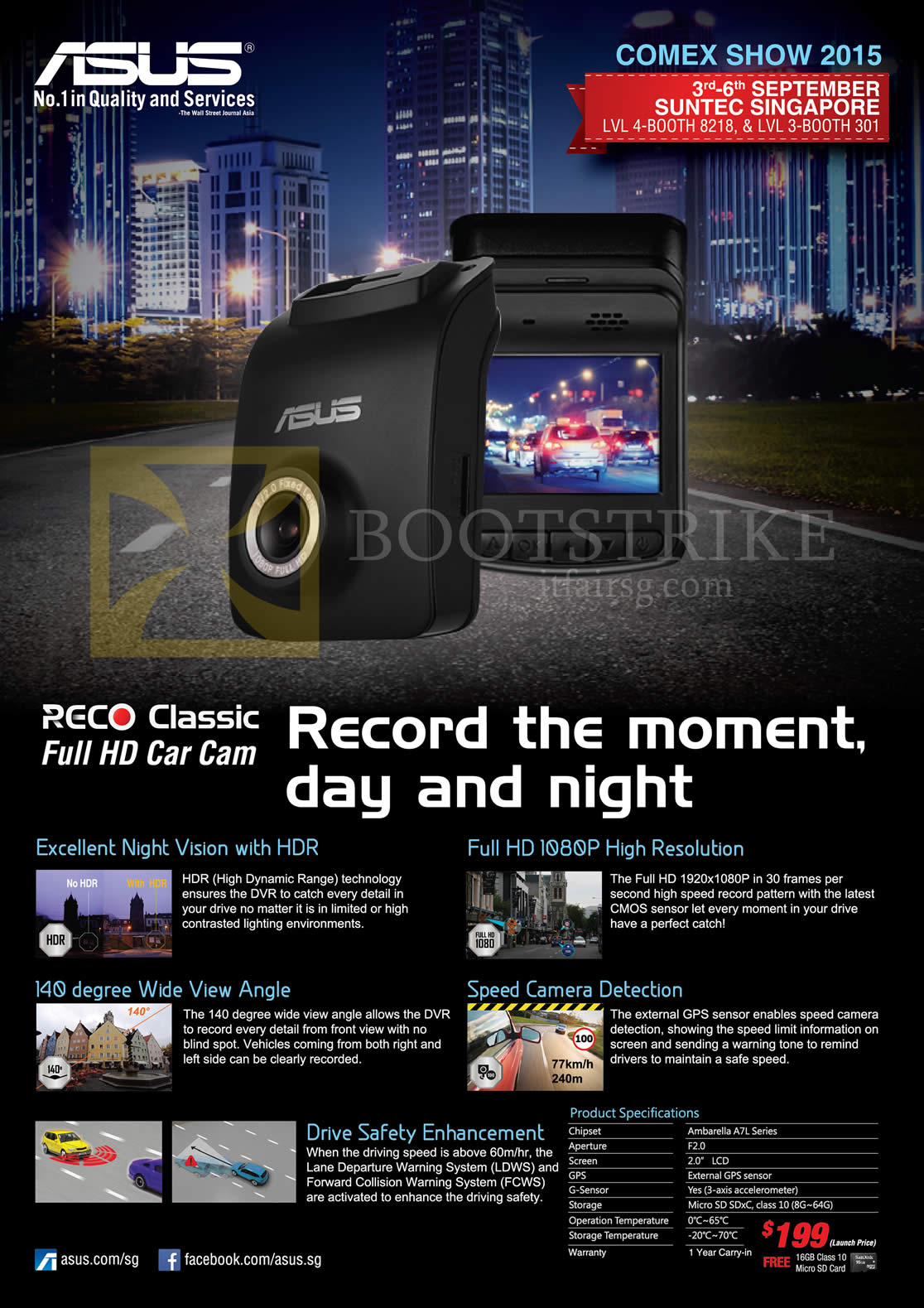 COMEX 2015 price list image brochure of ASUS Reco Classic Car Camera Driving Recorder