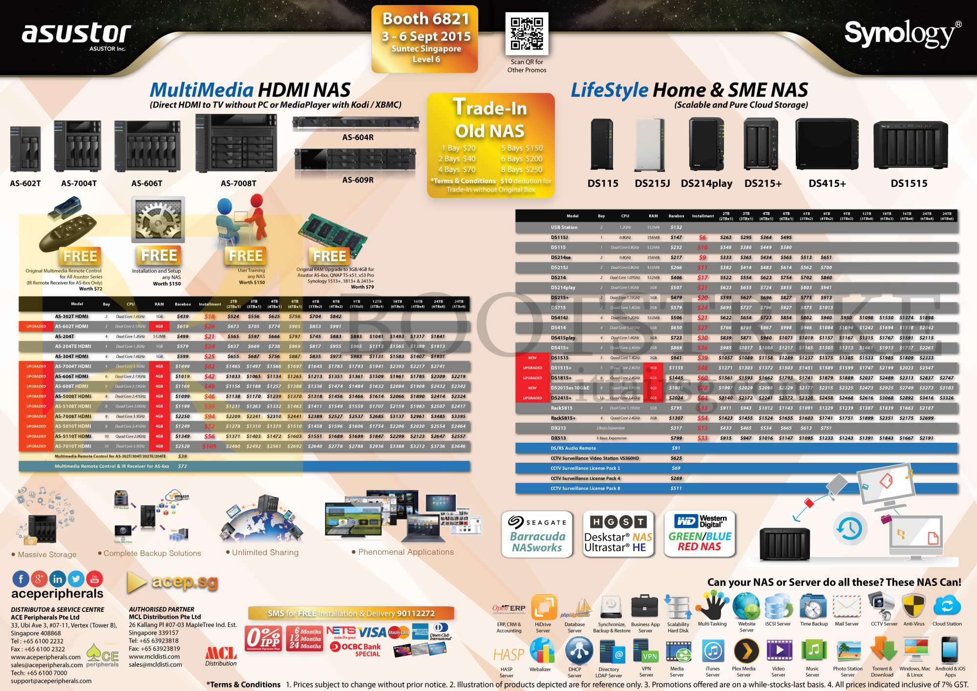 COMEX 2015 price list image brochure of Ace Peripherals NAS Asustor, Synology, Multimedia HDMI, Lifestyle Home N SME NAS