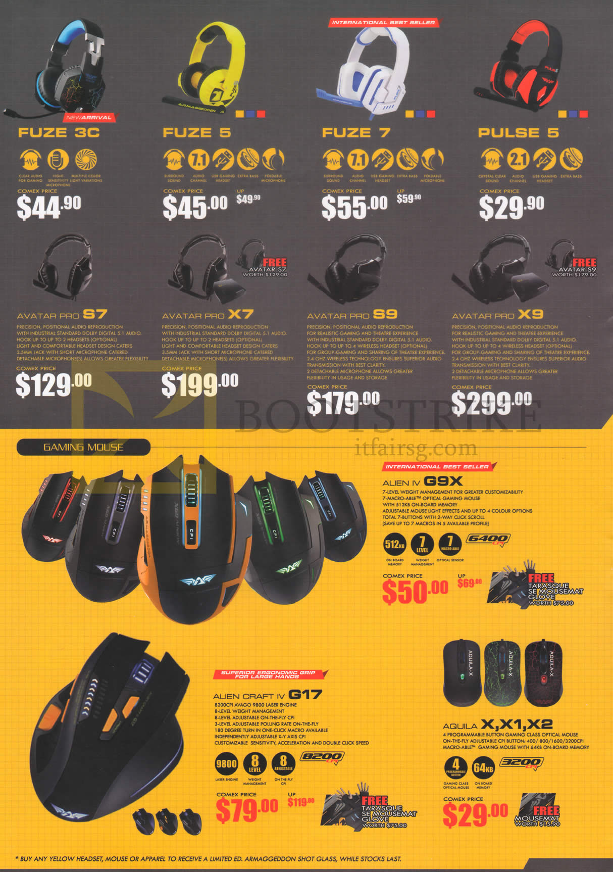 COMEX 2015 price list image brochure of Armaggeddon Gaming Headsets Fuze 3C, 5, 7, Pulse 5, Avatar Pro S7, X7, S9, X9, Gaming Mouse Alien IV G9X, Alien Craft IV G17, Aquila X, X1, X2
